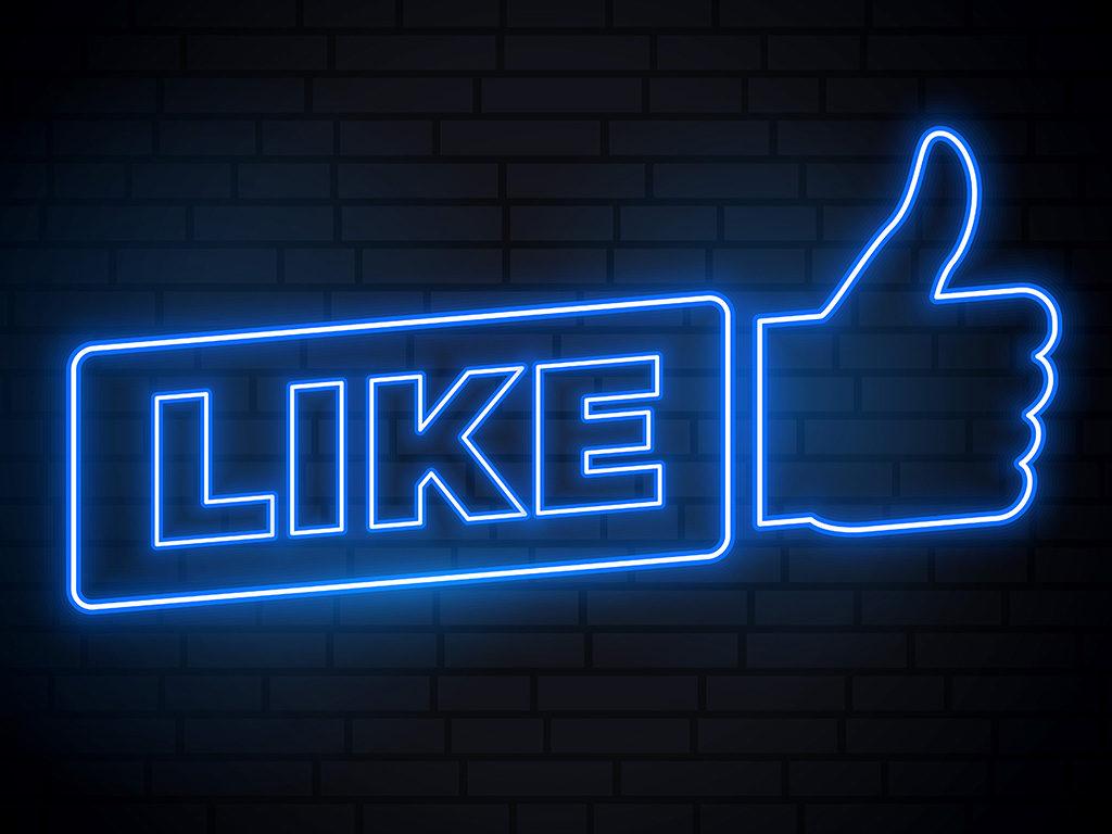 Neonski znak, Fejsbuk like